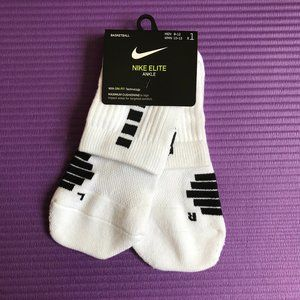 Nike Elite Ankle Socks 1 Pair Men 8-12 L White NWT